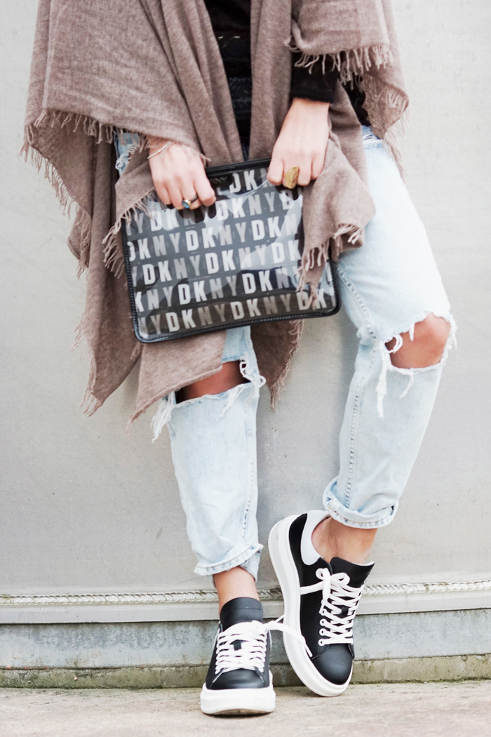 DESTROYED JEANS AND DKNY CLUTCH