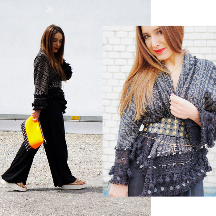 Teva Schuhe, Loubay Bag, Mango Pants and Zara Kimono 01