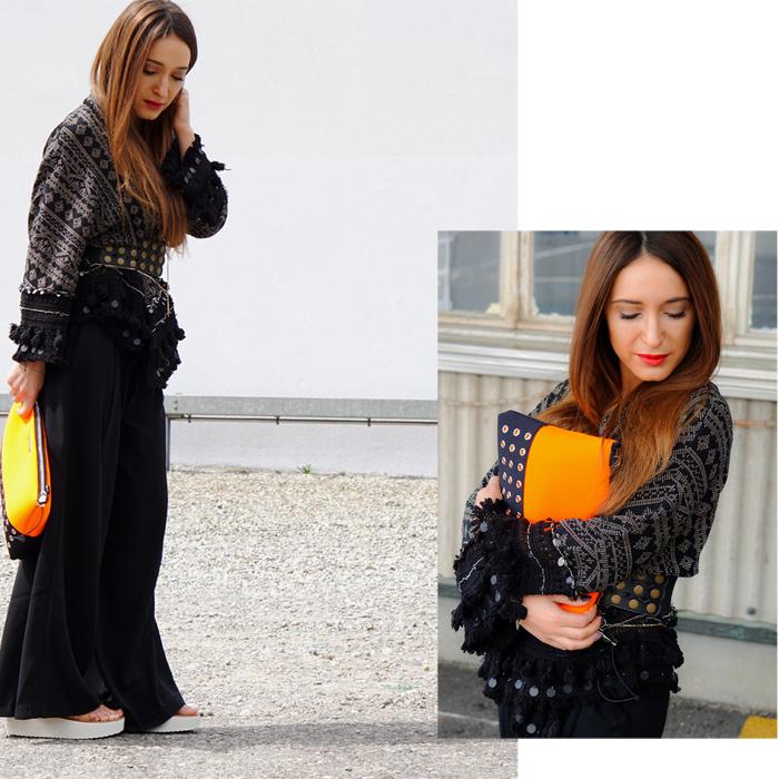 Teva Schuhe, Loubay Bag, Mango Pants and Zara Kimono 02