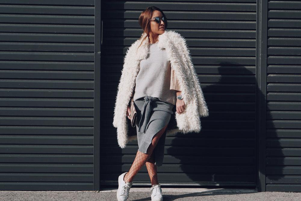 Falken Fishnets, Edited Skirt, Le Specs Sunnies and Vila Sweater
