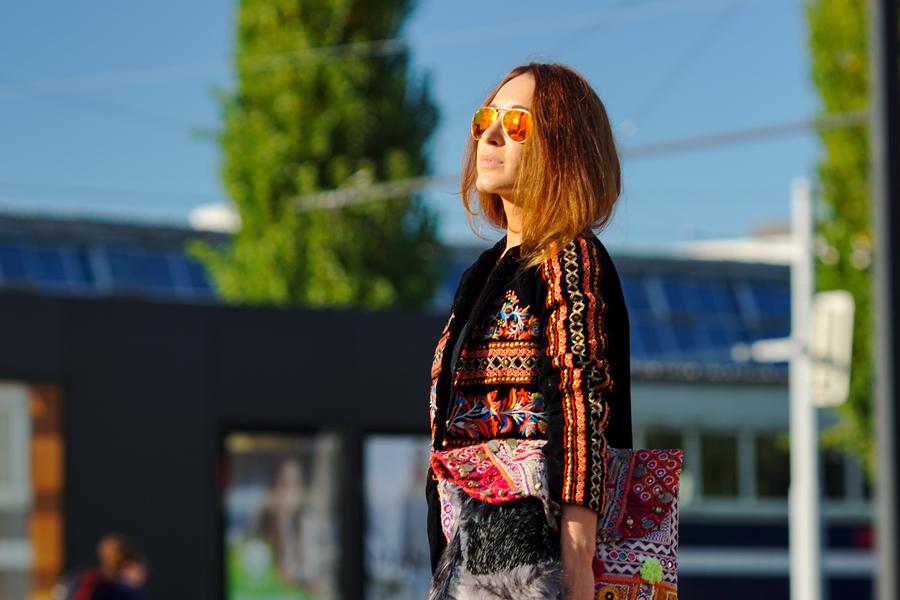 Zara Jacke bestrickt - Ethno Style